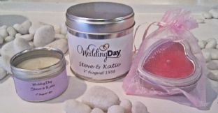 10 x Wedding Day Heart Shaped Scented Candle Wedding Favour